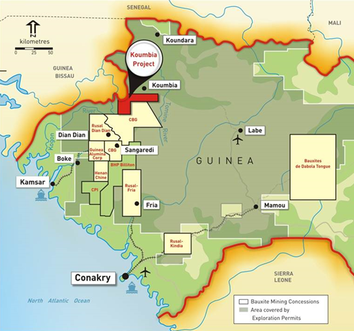 Bauxite mining concessions and area covered by exploration permits in Guinea, Africa. Graphic: Alliance Mining Commodities Limited (AMC)