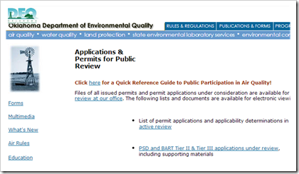 Oklahoma Department of Environmental Quality Air Quality