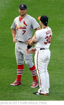 'St. Louis Cardinals left fielder Matt Holliday (7) and Baltimore Orioles left fielder Luke Scott (30)' photo (c) 2011, Keith Allison - license: http://creativecommons.org/licenses/by-sa/2.0/