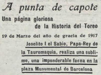 1917-03-19 (p. 26 La Lidia) Titular para Joselito
