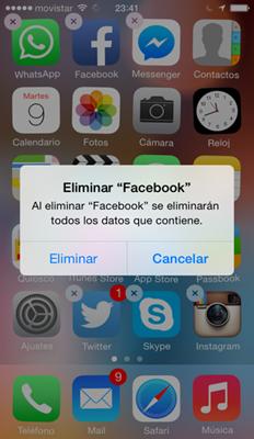 Eliminar aplicación de Facebook en iPhone