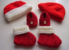 Red booties hats