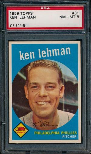 1959 Topps 31 Lehman autograph clean n no line