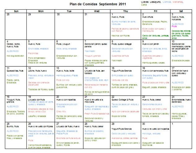 Reyna orozco meraz plan de comidas septiembre 2011 for Plan semanal de comidas