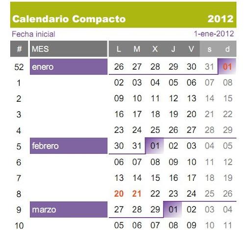 Calendario 2012 en excel y pdf para descargar