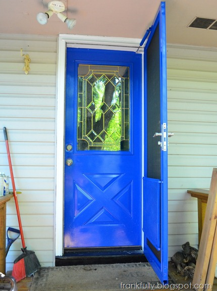 Bright TARDIS blue door