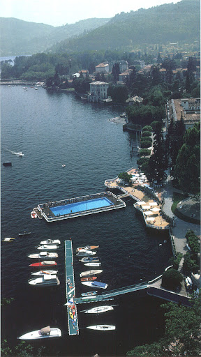 A barge pool for those who grow tired of the lake. Villa d'Este hotel, Lake Como, Italy, 1983. (Poolside With Slim Aarons, Abrams)