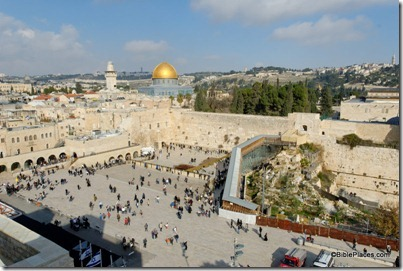 Western Wall prayer plaza from southwest, tb010312492