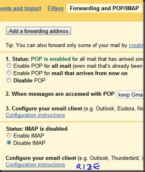 how to configure imap for gmail