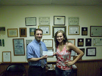 KCII's General Manager Joe Nichols with 2012 Recipient Lauren Vittetoe of Washington High School