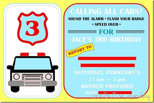 Police Birthday Party Invite