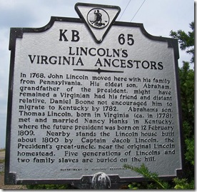 Lincoln's Virginia Ancestors Marker KB-65 Rockingham Co., VA