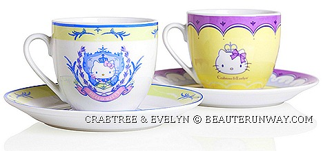 CRABTREE &amp; EVELYN  Rosewater, Lily, Wisteria, Lavender HELLO KITTY TEA SETS SUMMER 2012 LIMITED EDITION tea sets, tea cups and saucers, small plates, tea pot two-tier cake stand hello kitty crown marina bay sands paragon