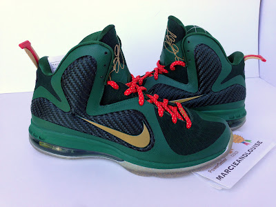 nike lebron 9 ss christmas 1 03 Nike LeBron 9 Alternate Green Christmas Promo Sample