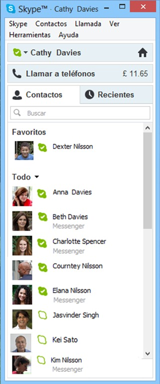 Contact List with Messenger Contacts
