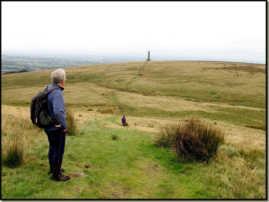 Dave looks towards Peel Tower