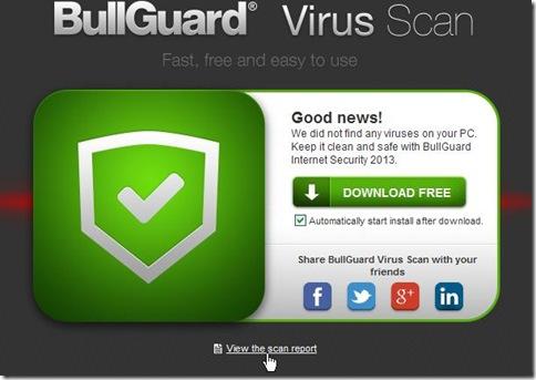 BullGuard Virus Scan visualizza risultati scansione