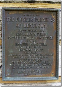 The Pioneer Founders of Kentucky plaque on Log Courthouse