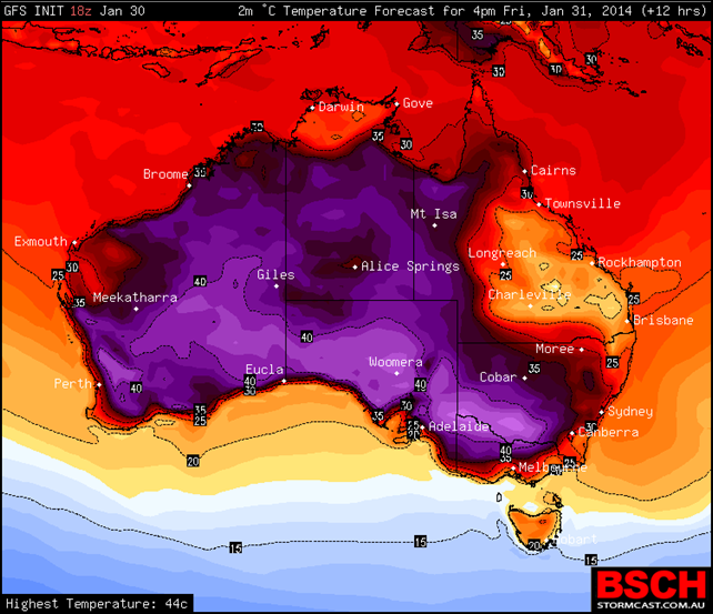 Temperature forecast for 1600 Friday, 31 January 2014. The highest temperature is 44C. Adelaide sweltered through its hottest February day on record Sunday, 2 February 2014. Graphic: BSCH