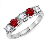 The Classic Five Stone Ruby and Diamond Ring