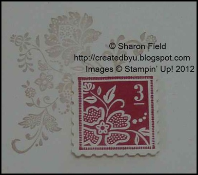 crumb cake background, real red, postage stamp punched image