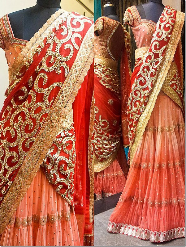 Half Saree Designers in Hyderabad http://www.sareetimes.com/2012/08/red-color-voni-collection-from-bhargavi_25.html