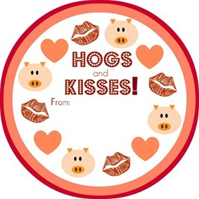Hogs and Kisses Valentine Printable