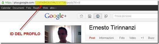 id del profilo su Google Plus