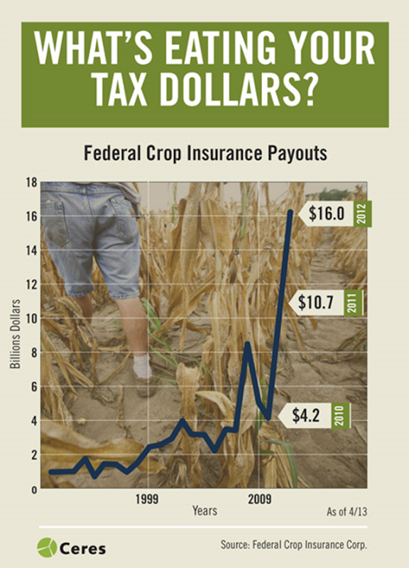 U.S. Federal crop insurance payments, 1990-2012. Graphic: Ceres / Federal Crop Insurance Corp.