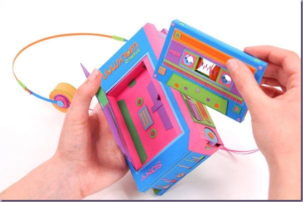 Arte-Recortes-Papel-Eletrônicos-Walkman-Fita-K7