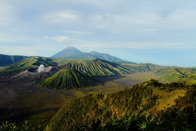 The smoking Bromo and Semeru in the background, East Java, Indonesia