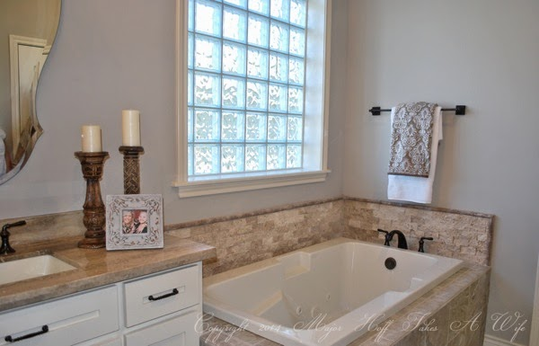 Master bath with tile border pewter revere pewter paint