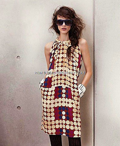 Marni H&M Silk Dress Printed Polka Dots Chunky White Acrylic Bracelets Stripe Brown and Black Leggings Sunglasses