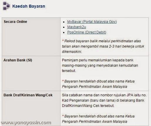 Cara Bayaran Pinjaman JPA