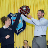Gillian Marley Senior Student of the year receives her award from Jason Black, Guest Speaker at the Mulroy College prize giving on Thursday night last. Photo Clive Wasson.