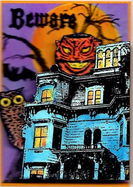2011 10 LRoberts ATC Lantern Beware of the Haunted House Single ATC