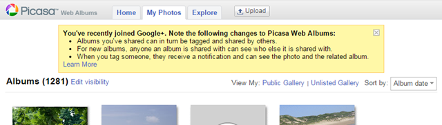 The Picasa Web Album screen in a chrome browser