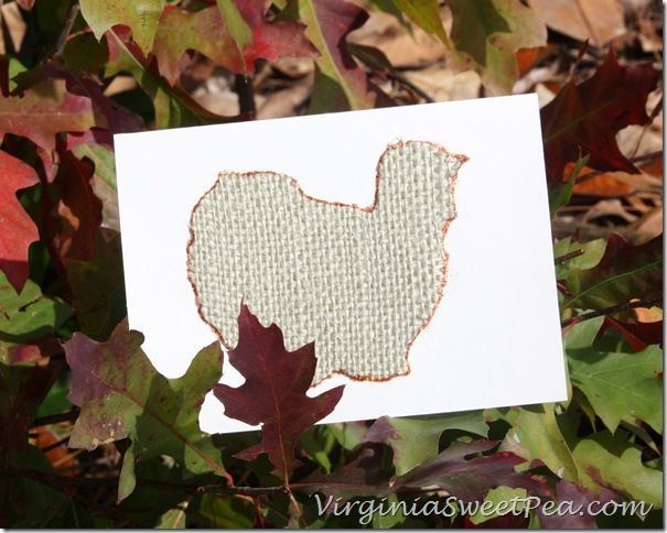 Burlap Turkey Thanksgiving Card in Leaves