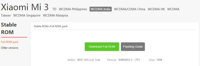 Mi3 India MIUI Update
