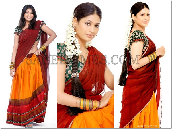 Brown_Yellow_Half_Saree