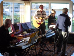 Peter Brophy, Kevin Johnston, Jan Johnston and singer Gordon France jamming