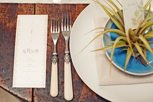 The nude napkins and flatware handles accentuated the palette.