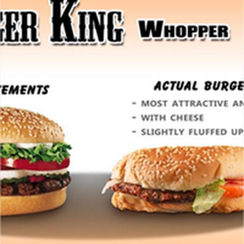 La publicidad vs la realidad de la comida