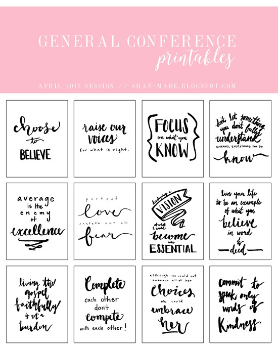 LDS General Conference Printables // Hand Lettering Printables // Shan Made