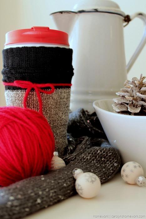 Dollar Store Coffee Cup Sock Cozy - carolynshomework (1)