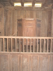 Plimoth Plant pulpit in stockade bldg