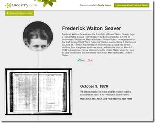 Frederick Walton Seaver's story view on Ancestry.com