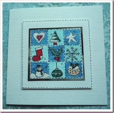Doodle Christmas patchwork Card