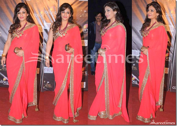 Raveena_Tandon_Pink_Georgette_Saree(1)