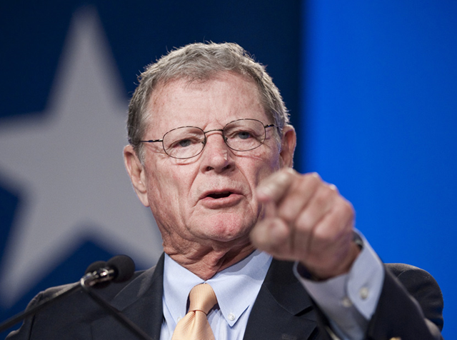 Senator James Inhofe (R-OK). Sen. Inhofe has famously said that global warming is the 'greatest hoax ever perpetrated on the American people.' Photo: via legalplanet.wordpress.com